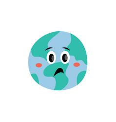 unhappy emotion earth planet cartoon vector image