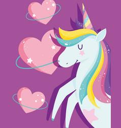 unicorns with rainbow mane bright hearts love vector image