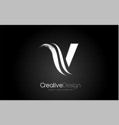 V letter design brush paint stroke on black vector