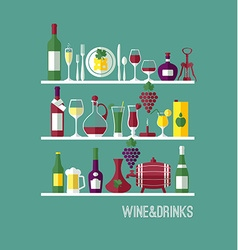 Vine flat background Wine bar composition vector
