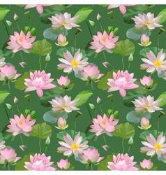 Vintage Waterlily Flowers Seamless Pattern vector