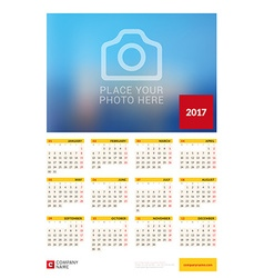 Wall Yearly Calendar Poster for 2017 Year Design vector image