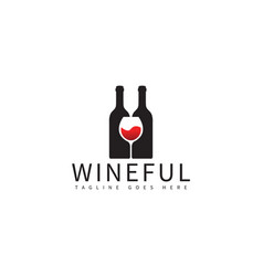 wine bottle and glass logo design template vector image