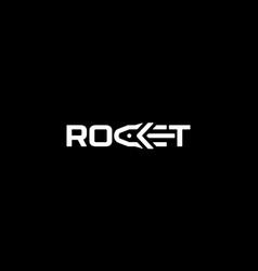wordmark rocket logo design concept vector image
