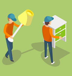 Workers moving furniture indoor relocation vector