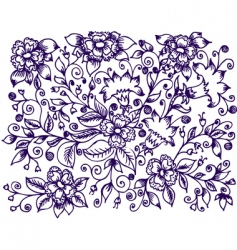ink floral design vector image