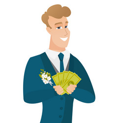 young caucasian groom holding money vector image vector image