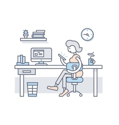 Girl in office looking into smartphone vector image vector image