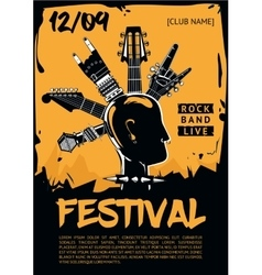 Music poster template for a rock concert Punk vector image vector image