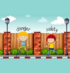 Opposite words for danger and safety vector