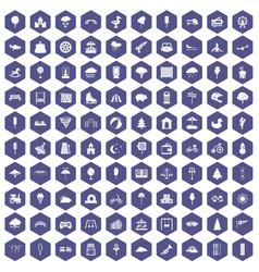 100 childrens park icons hexagon purple vector image vector image