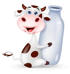 Cute cow cartoon with milk bottle vector image