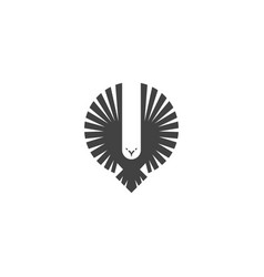 eagle logo emblem of a flying hawk hunter vector image