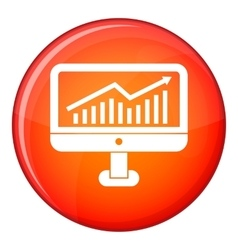 Growth graph on the computer monitor icon vector