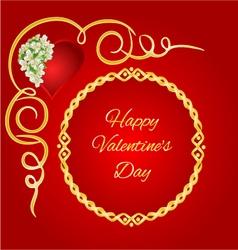 Happy Valentine day frame heart with jasmine vector image
