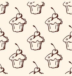 pattern with sweet fruit cake vector image vector image