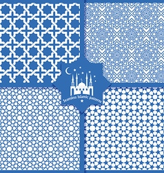Seamless Islamic patterns set in blue vector image vector image