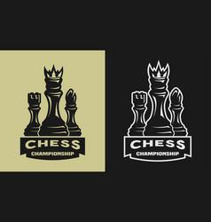 chess game championship emblem logo vector image