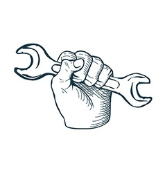 Hand drawn sketch vintage Hand with Wrench vector image vector image