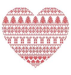 Pattern cross stitch heart shape vector