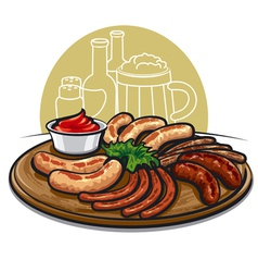 sausages grilled vector image