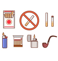 Smoking flat icon set vector image