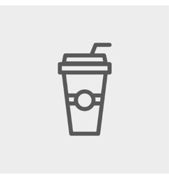 Soda in a plastic cup with straw thin line icon vector image