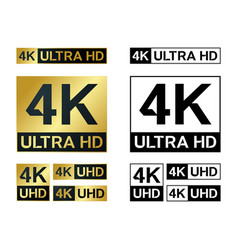 4k ultra hd icon uhd tv symbol high vector