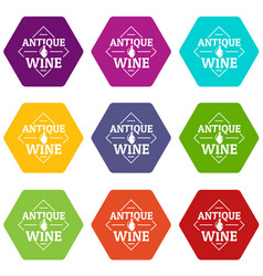 antique wine icons set 9 vector image