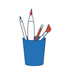 Art and back to school supplies paint brushes vector