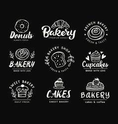 Bakery logotype set badge labels collection vector