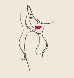 beauty salon design portrait of beautiful woman vector image vector image