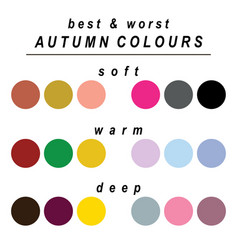 Best and worst colours for autumn vector
