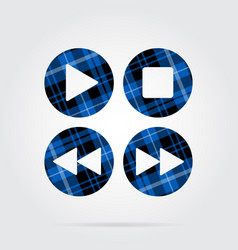 Blue black tartan icon - music control buttons vector