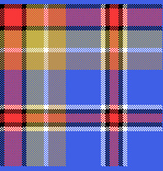blue check fabric texture square pixel seamless vector image vector image