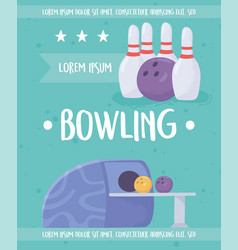 Bowling machine balls and pins game recreational vector