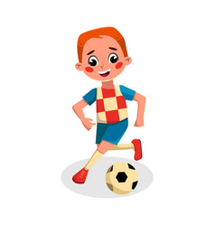 Boy playing soccer kid practicing sports game vector