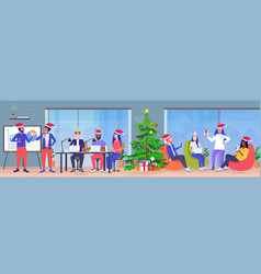 business people wearing santa claus hats using vector image