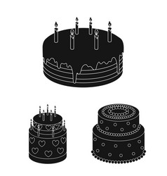 Cake and dessert black icons in set collection for vector