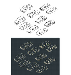 cars isometric set vector image