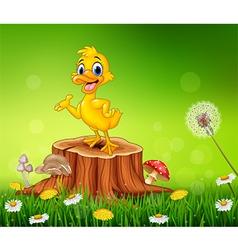 Cartoon funny duck presenting on tree stump vector