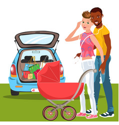 Cartoon happy men with loving baby in red carriage vector