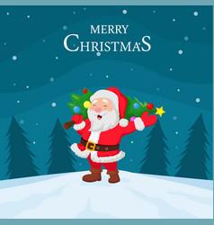 cartoon santa claus carrying christmas tree vector image
