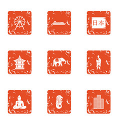 Chinese style icons set grunge style vector