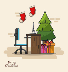 Christmas in office vector