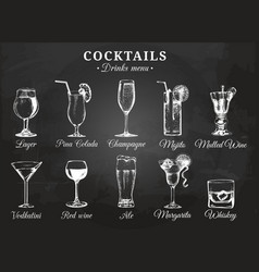 cocktail glasses for drink vector image