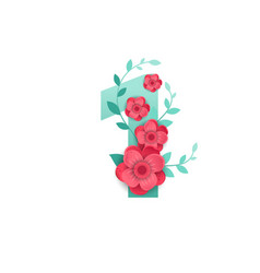 color number 1 with beautiful flowers vector image