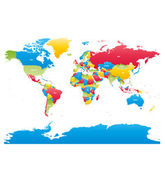 Colorful high detailed map of world vector