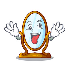 crazy big dressing mirror isolated on mascot vector image