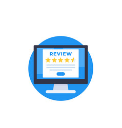 Customer review feedback form on screen vector